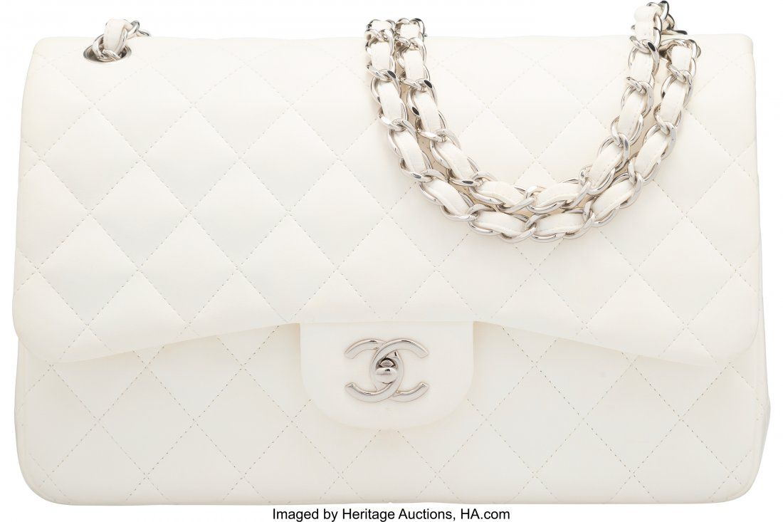 58002 Chanel White Quilted Lambskin Jumbo Double Flap