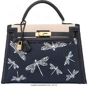 58082 Hermes Customized 28cm Indigo Calf Box Leather
