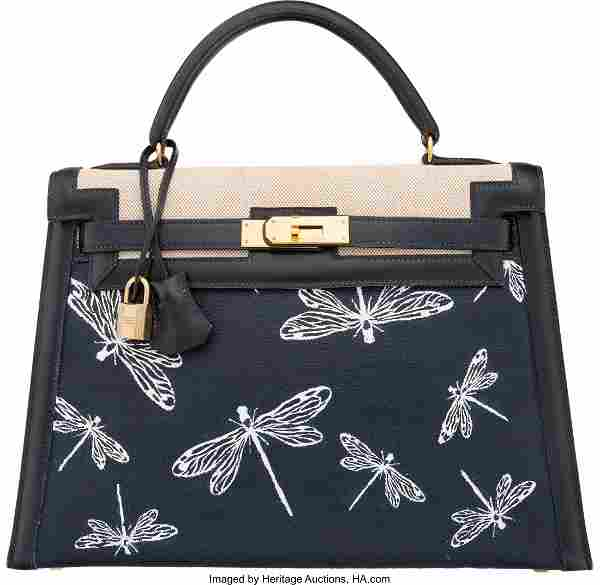 58082: Hermes Customized 28cm Indigo Calf Box Leather &