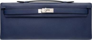 Hermes Blue Sapphir Epsom Leather Kelly Cut Clut