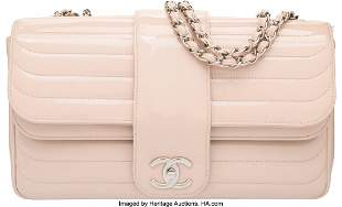 58005 Chanel Blush Patent Leather Flap Bag with Silver