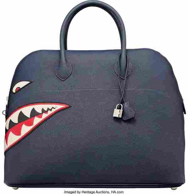 58085: Hermes 45cm Blue Nuit Togo Leather Shark Mou Bol