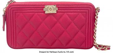 58006 Chanel Pink Quilted Caviar Leather Boy Classic C
