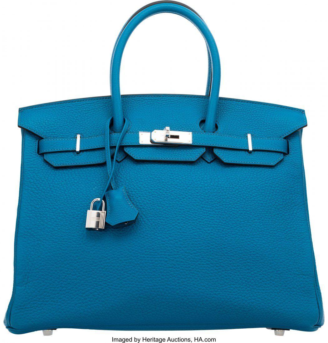 Hermes 35cm Blue Izmir Clemence Leather Birkin B