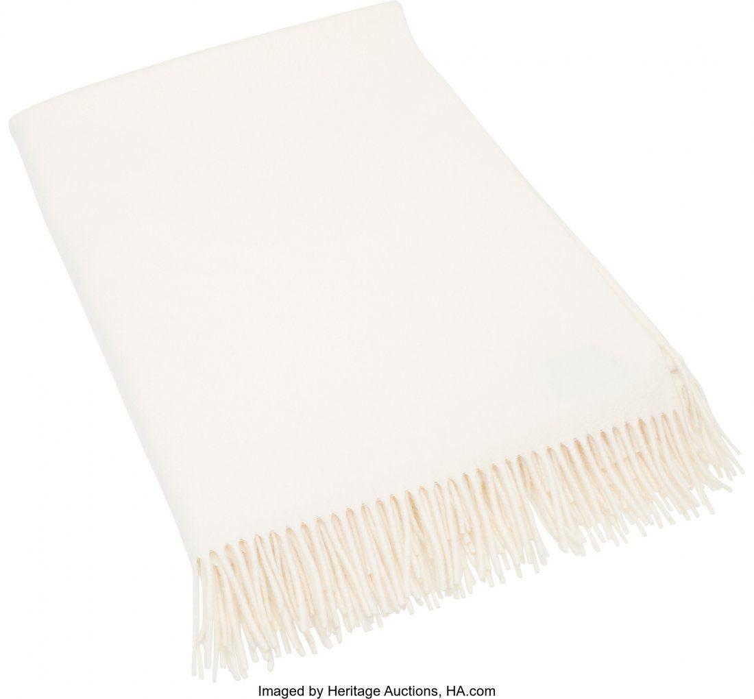 58048: Hermes Ecru Cashmere Throw Blanket Condition: 1