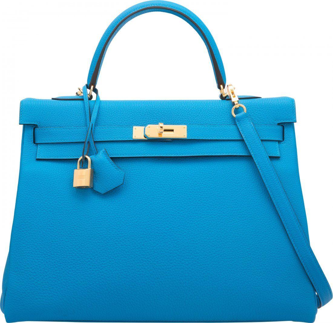 Hermes 35cm Blue Zanzibar Togo Leather Retourne