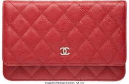 58009 Chanel Red Quilted Caviar Leather Wallet on Chai