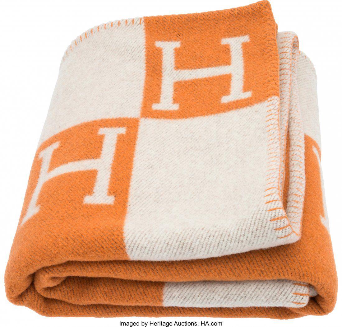 58049: Hermes Orange & Ecru Wool and Cashmere Avalon Bl