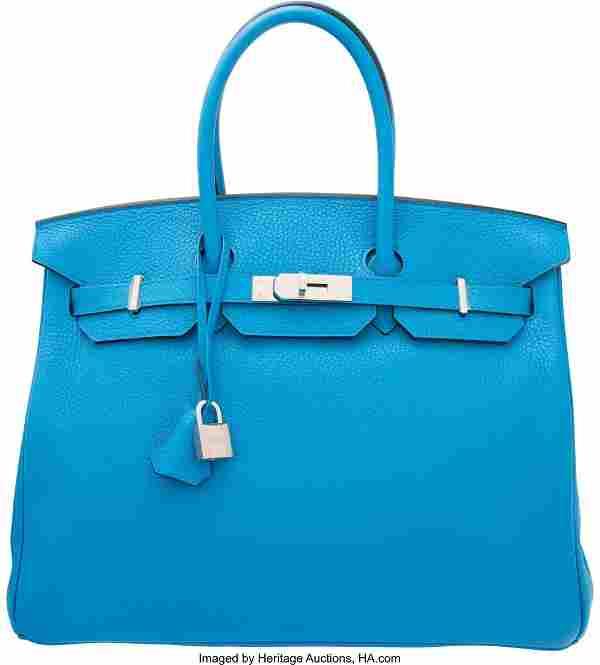 Hermes 35cm Blue Zanzibar Clemence Leather Birki
