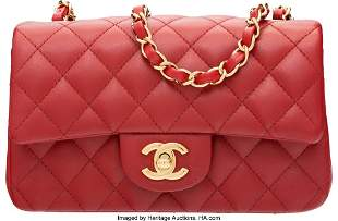 58010 Chanel Red Quilted Lambskin Leather Rectangular