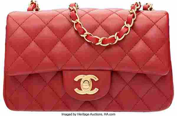 58010: Chanel Red Quilted Lambskin Leather Rectangular