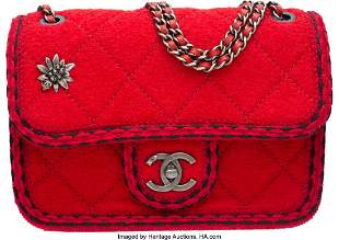 58011 Chanel Red Quilted Wool Flap Bag with Ruthenium