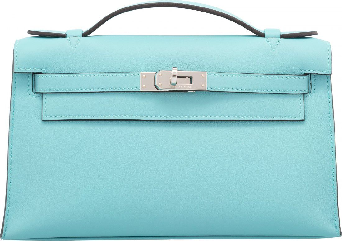 Hermes Blue Atoll Swift Leather Kelly Pochette B