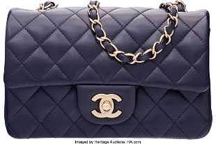 cabf7651ea8e See Sold Price. 58012: Chanel Navy Blue Quilted Lambskin Leather Rectan  58012: Chanel Navy Blue Quilted Lambskin Leather Rectan