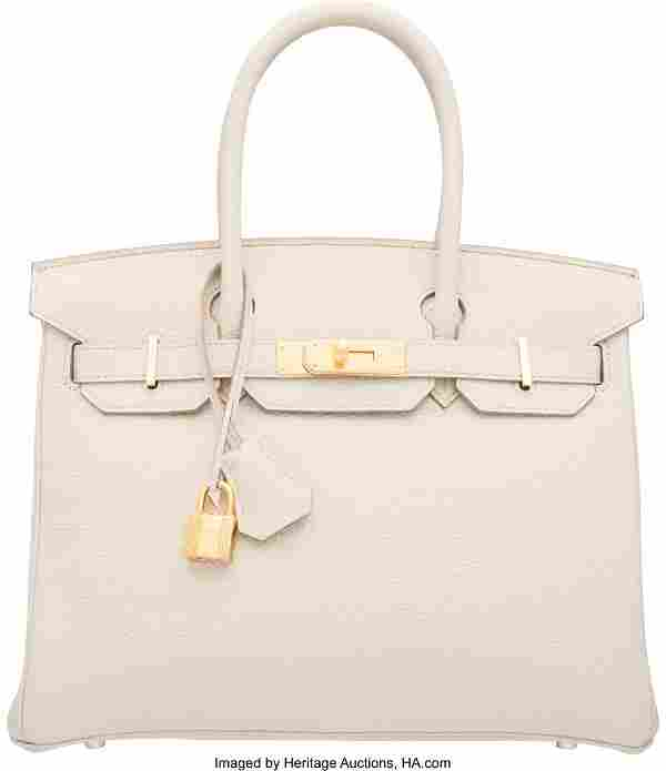 Hermes 30cm Beton Clemence Leather Birkin Bag wi