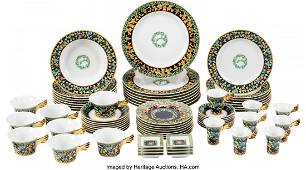58055 Versace Set of 72 Gold Ivy Plateware Condition