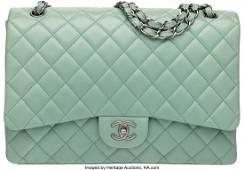 58015 Chanel Mint Green Lambskin Leather Maxi Single F