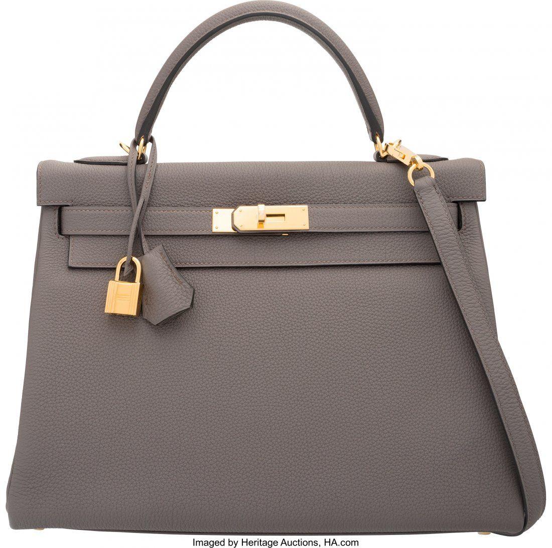 Hermes 32cm Etain Togo Leather Retourne Kelly Ba