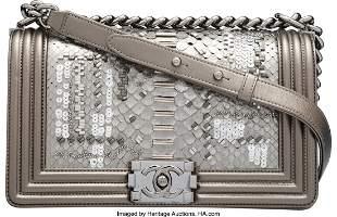 58017 Chanel Metallic Dark Silver Embellished Python M