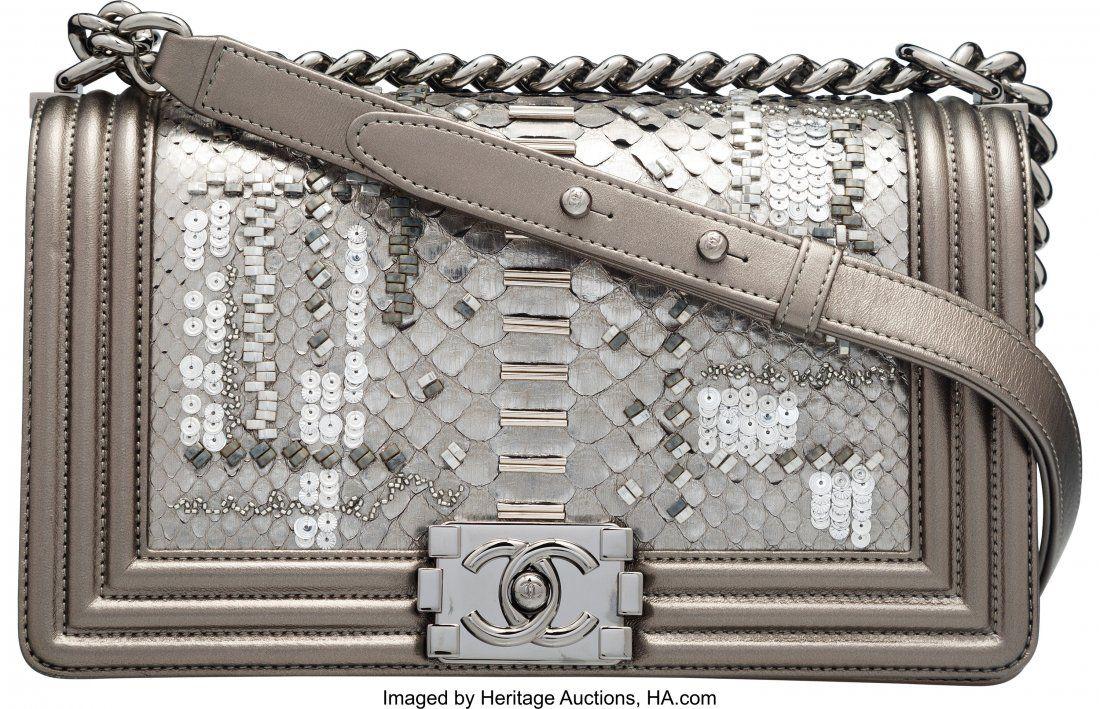 58017: Chanel Metallic Dark Silver Embellished Python M