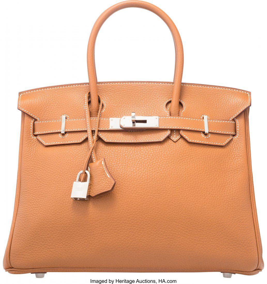 Hermes 30cm Gold Togo Leather Birkin Bag with Pa