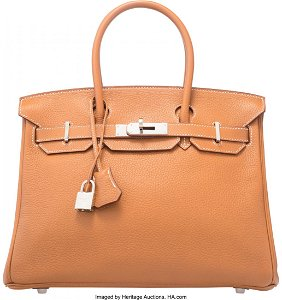58138: Hermes 30cm Gold Togo Leather Birkin Bag with Pa
