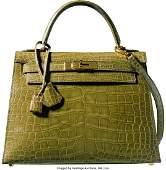 Hermes 28cm Shiny Vert Chartreuse Alligator Sell
