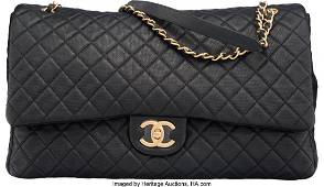 58021 Chanel Black Quilted Calfskin Leather Airlines C