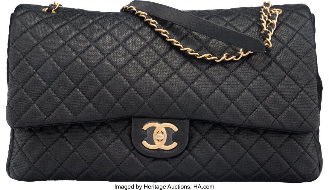58021: Chanel Black Quilted Calfskin Leather Airlines C