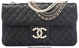 58022 Chanel Black Quilted Lambskin Leather Westminste