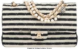 58023 Chanel Black Beige Quilted Jersey Medium Flap