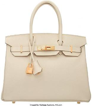 58070 Hermes 30cm Craie Epsom Leather Birkin Bag with