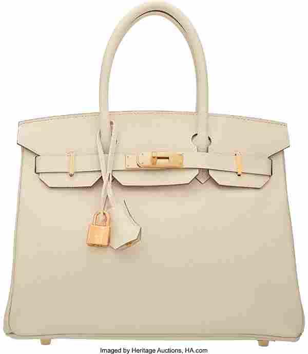 58070: Hermes 30cm Craie Epsom Leather Birkin Bag with