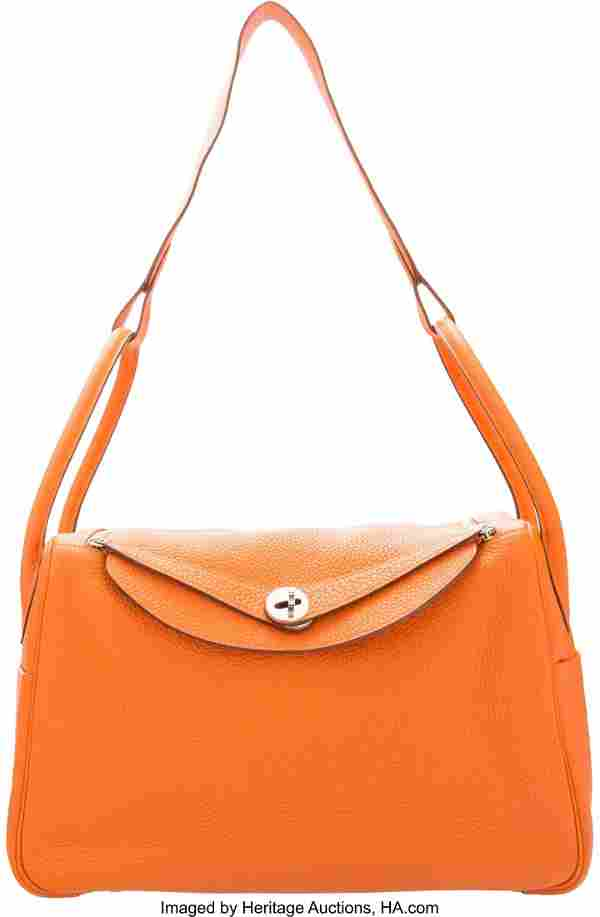 Hermes 34cm Orange H Clemence Leather Lindy Bag