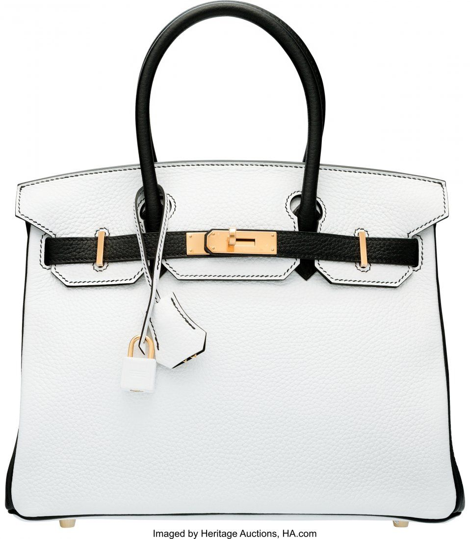58072: Hermes Special Order Horseshoe 30cm White & Blac