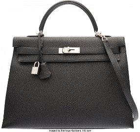 58077: Hermes 35cm Black Chevre de Coromandel Leather S