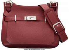 Hermes 34cm Rouge H Clemence Leather Jypsiere Ba