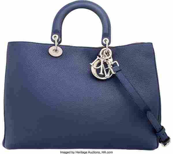 58032: Christian Dior Navy Blue & Yellow Calfskin Leath