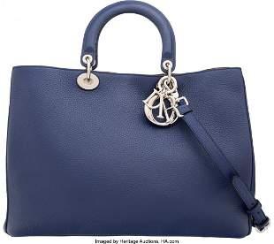 58032 Christian Dior Navy Blue Yellow Calfskin Leath