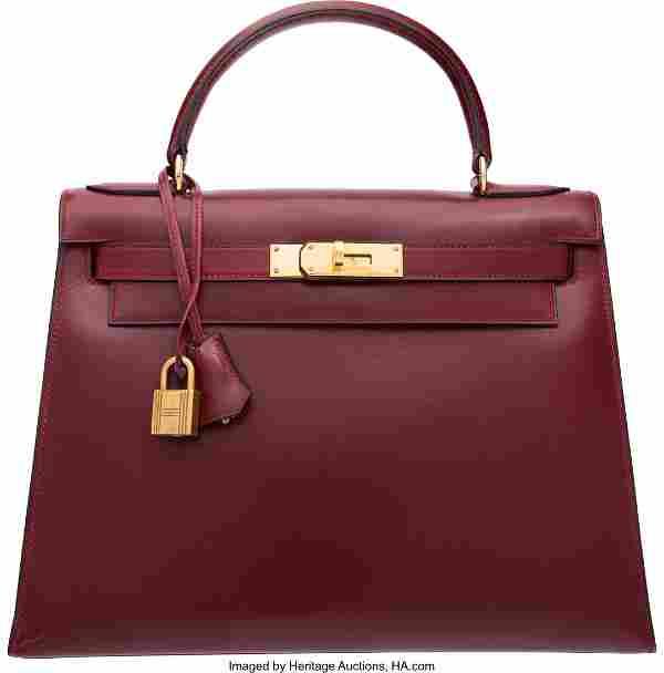 Hermes 28cm Rouge H Calf Box Leather Sellier Kel