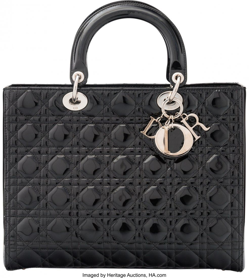 58034: Christian Dior Black Canage Patent Leather Large