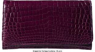 58035 Donna Karan Amethyst Alligator Envelope Clutch C