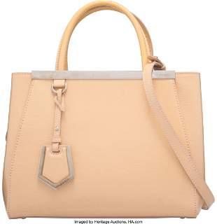 58037 Fendi Beige Patent Leather Small 2 Jours Bag Con
