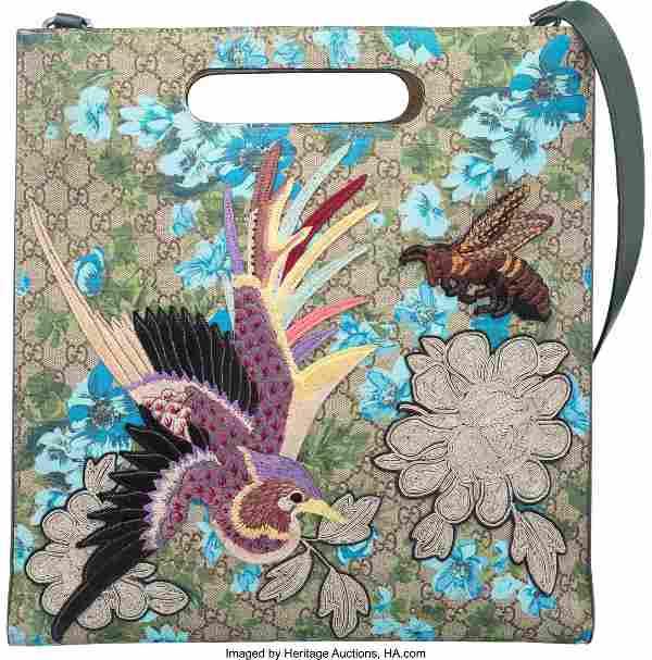 58038: Gucci Monogram Canvas GG Supreme Blooms XL Tote