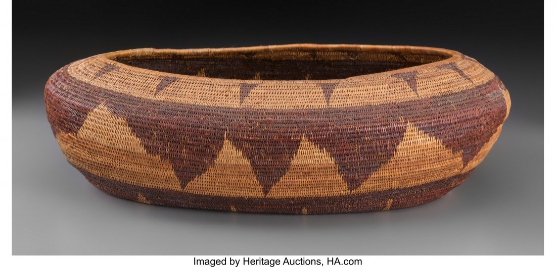 70211: A Pomo Coiled Basket c. 1900   willow, redbud  P