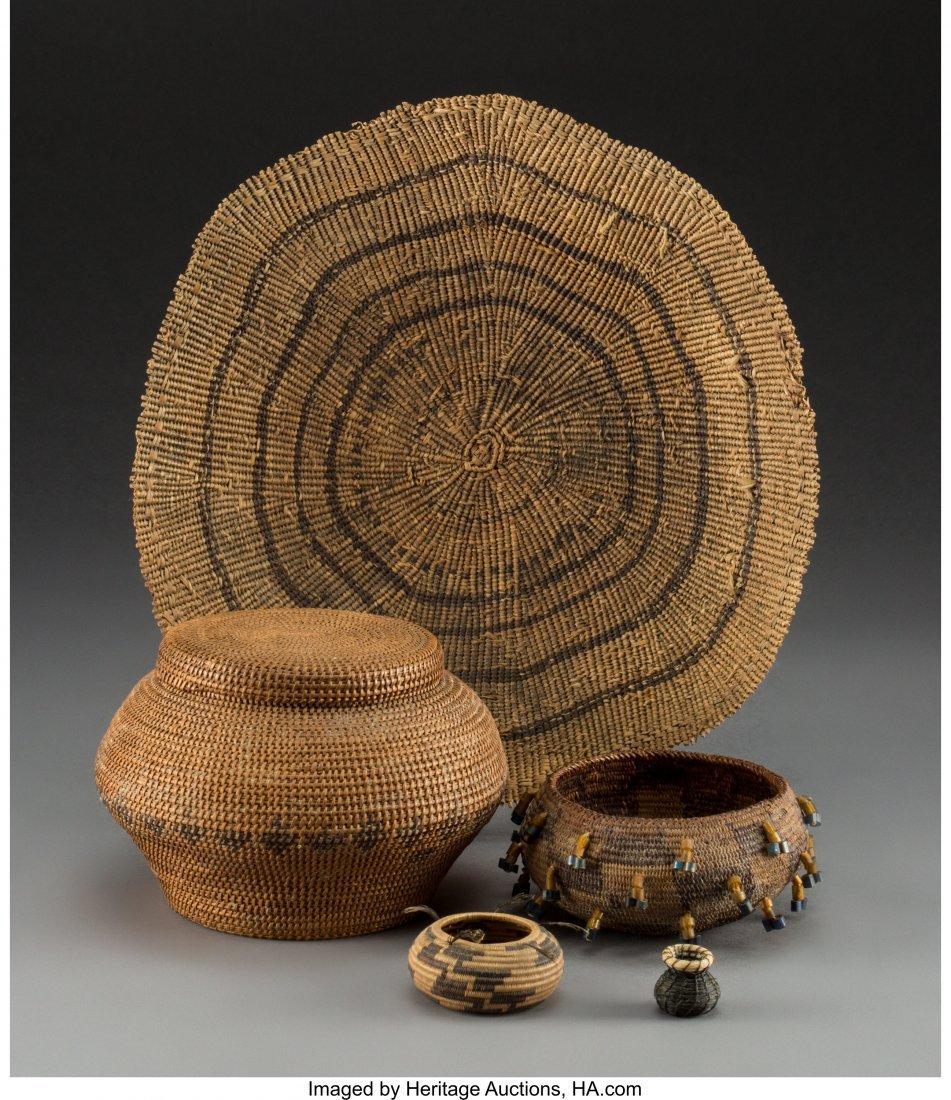 70212: Five West Coast / Southwest Basketry Items c. 19