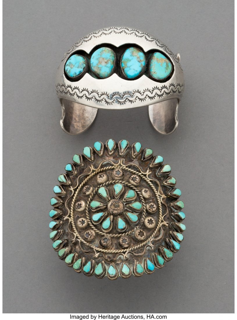 70403: Two Southwest Silver and Turquoise Bracelets  Wi