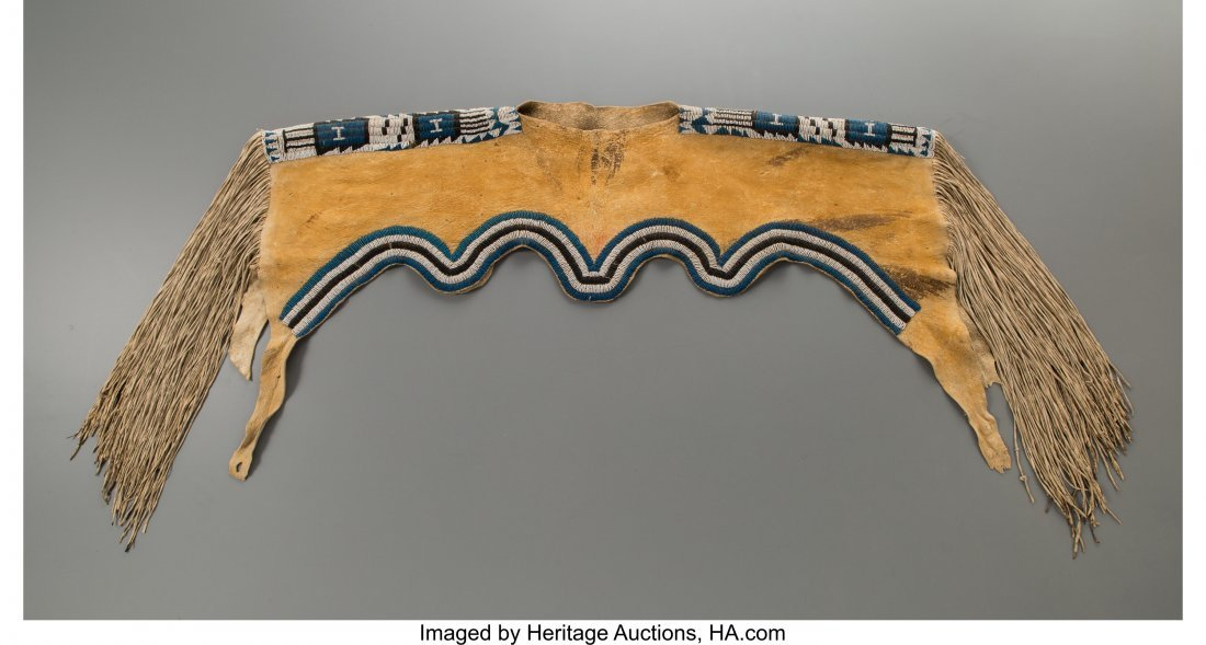 70226: An Apache Beaded Hide Dress Yoke c. 1880   hide,