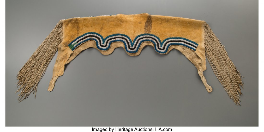 70226: An Apache Beaded Hide Dress Yoke c. 1880   hide, - 2