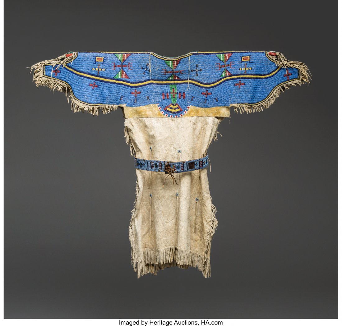 70244: A Sioux Girl's Beaded Hide Dress with Panel Belt